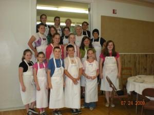 The whole morning crew in the Aprons that I personalized for each child.