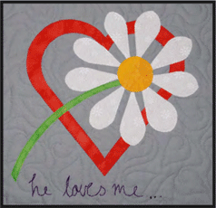 Original pattern photo with hand embroidered letters