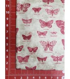 Tim Holtz Fabric: Butterflight Red, one yard cut