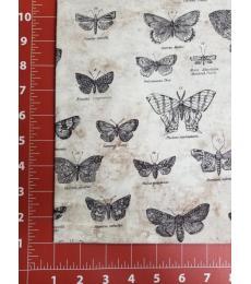 Tim Holtz Fabric: Butterflight Taupe, one yard cut