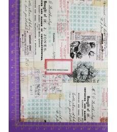 Tim Holtz fabric: one yard cut, Memoranda-Chrysanthemun