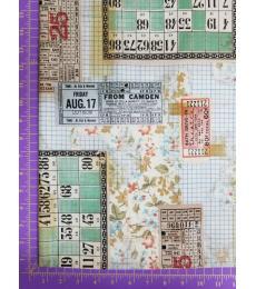 Tim Holtz fabric: one yard cut, Memoranda-Tickets