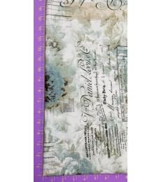 Tim Holtz fabric: Memoranda 2, Receipt Aqua
