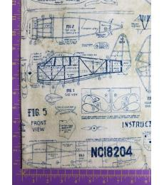 Tim Holtz fabric:one yard cut, Correspondence-Model Airplanes